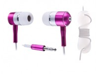 Handsfree MP3 Stereo pink metal 3.5mm jack