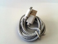 USB зареждащ кабел за данни textile Sting color white/ Micro USB